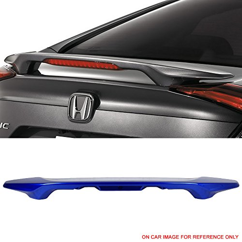(Pre-Painted Trunk Spoiler Fits 2016-2018 Honda Civic | Factory Style Aegean Blue Metallic #B593M ABS Rear Spoiler Wing Tail Finnisher Deck Lid Other Color Available by IKON MOTORSPORTS | 2017 )