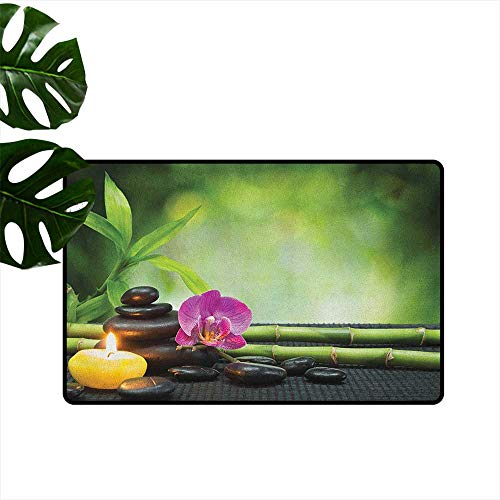 "RenteriaDecor Spa,Funny doormats Orchid Bamboo Stems Chakra Stones Japanese Alternative with Feng Shui Elements 18""x60"",Roommat"