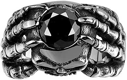 Foro Black Crystal Claw Punk Men Stainless Steel Ring