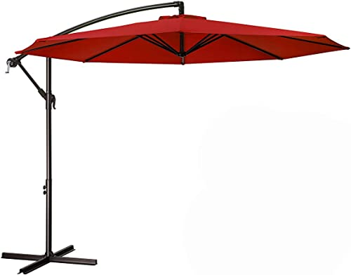 MEWAY 10ft Outdoor Umbrella Backyard Umbrella Deck Umbrella Cantilever Patio Umbrella