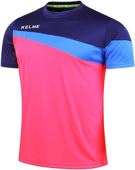 KELME Camiseta de fútbol de Manga Corta Equipo Traning Placa Uniforme, Hombre, Rose Red/Blue, Medium: Amazon.es: Deportes y aire libre
