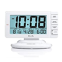 DreamSky Large Display Alarm Clock with Smart Nightlight and Snooze, Battery Operated Clocks for Bedroom,Time/Date/Temperature Display,12/24 Hr Switch.