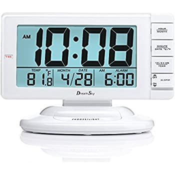 DreamSky Large Display Alarm Clock With Smart Nightlight And Snooze,  Battery Operated Clocks For Bedroom