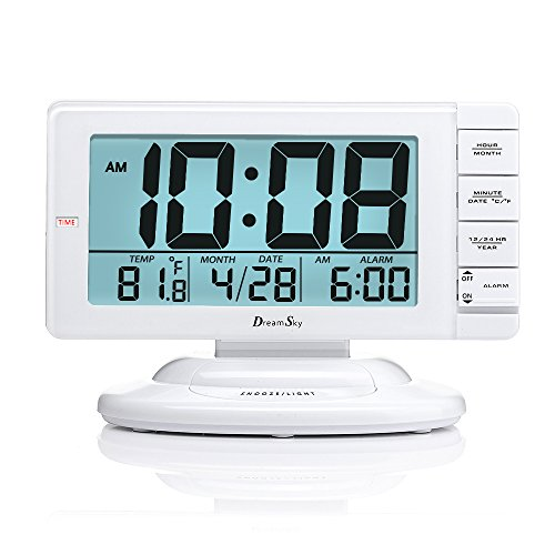 (DreamSky Large Display Alarm Clock with Smart Nightlight and Snooze, Battery Operated Clocks for Bedroom,Time/Date/Temperature Display,12/24 Hr Switch.)