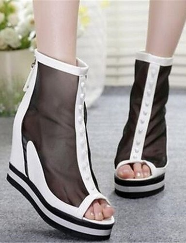 GGX/ Damenschuhe-High Heels-Lässig-PU-Blockabsatz-Absätze-Schwarz / Weiß white-us7.5 / eu38 / uk5.5 / cn38