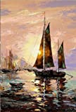 Startonight Canvas Wall Art Sailing boat on the seashore, Water USA Design for Home Decor, Dual View Surprise Artwork Modern Framed Ready to Hang Wall Art 31.5 X 47.2 Inch 100% Original Art Painting!