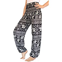 Banjamath? Women's Smocked Waist Harem Hippie Boho Yoga Palazzo Casual Pants (XL, Elephant Black)