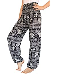 Women's Smocked Waist Harem Hippie Boho Yoga Palazzo Casual Pants
