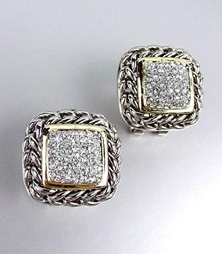 NEW Designer Style Balinese Silver Wheat Chains Gold Pave CZ Crystals Earrings