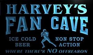 te1225-b Harvey's Football Fan Cave Beer Bar Sports Neon Light Sign