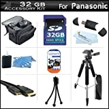 32GB Accessory Kit For Panasonic HDC-TM80K HD Twin Memory Camcorder Includes 32GB High Speed SD Memory Card + 57'' Full Size Tripod w/ Case + Deluxe Case + Mini HDMI Cable + LCD Screen Protectors + USB 2.0 SD Card Reader + MicroFiber Cleaning Cloth + More