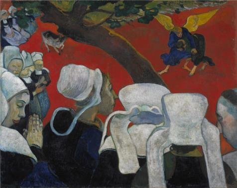 High Quality Polyster Canvas ,the Vivid Art Decorative Canvas Prints Of Oil Painting 'Paul Gauguin-Vision After The Sermon,1888', 12x15 Inch / 30x38 Cm Is Best For Garage Gallery Art And Home Gallery Art And Gifts (Paul Gauguin Vision After The Sermon 1888)