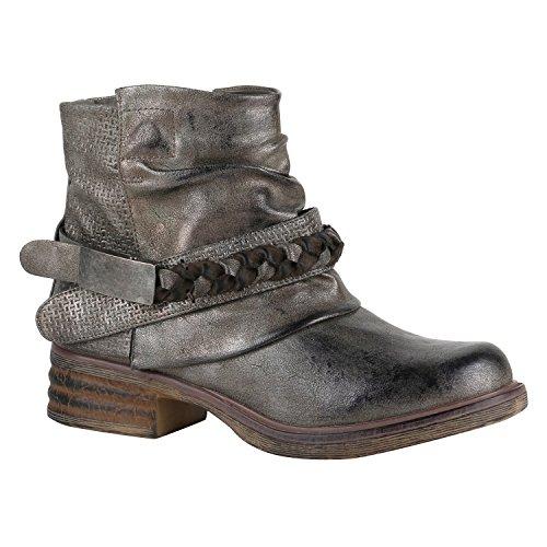 Stiefelparadies Gefütterte Damen Biker Boots Nieten Schnallen Stiefeletten Gr. 36-42 Flandell Grau Metallic Schnalle