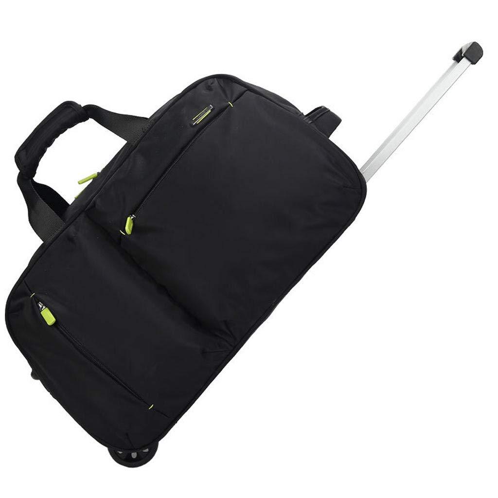 トロリーバッグ大容量ポータブル防水トラベルバッグ、折り畳み式の男性と女性の荷物のバッグ - L54 * 34 * 30CM (色 : 黒) B07L763LJ6 黒