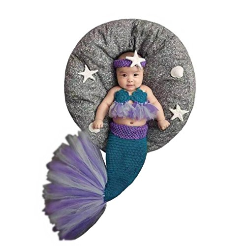 [Newborn Baby Crochet Knitted Photography Props Purple Mermaid Bra Tail Outfits] (Newborn Mermaid Costumes)