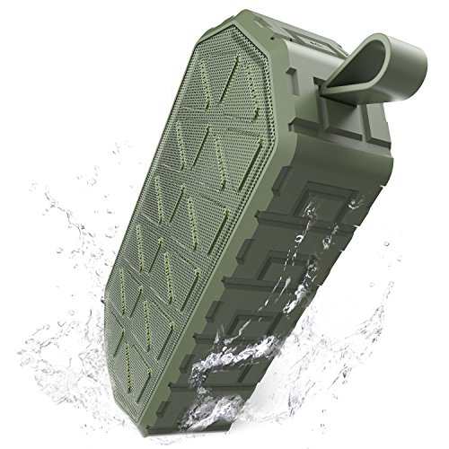 1000mah Battery Extended Ion Li (Bluetooth Speakers, Wireless Portable Speaker with Enhanced Bass/ IPX6 Waterproof/Built-in Mic/ 10-Hour Playtime Outdoor Speakers Perfect for Home, Hiking, Climbing, Shower (Green))