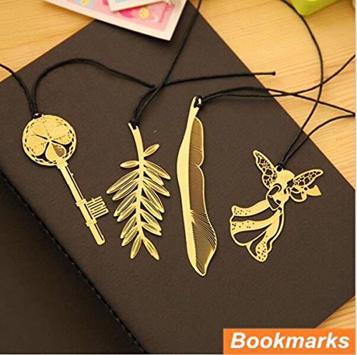 (Pack of 4 Metal bookmark Gold plated Book holder feather marcador de livro marcapaginas Stationery Office School supplies by Fascola )
