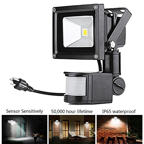 Super Bright Motion Sensor Flood Light, 30W Waterproof Security Light,Outdoor Wall Light 900-1200lm Lumens Auto On/Off for Driveway Patio Garden Path - Daylight White