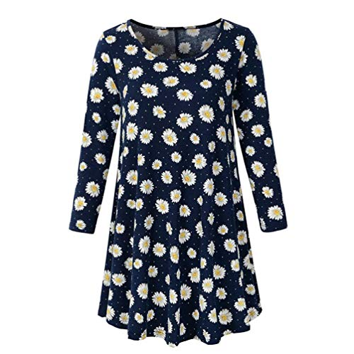 Price comparison product image TunicsToimoth Womens Long Sleeve O Neck Floral Tops Ladies T-Shirt Blouse(Navy,XL)