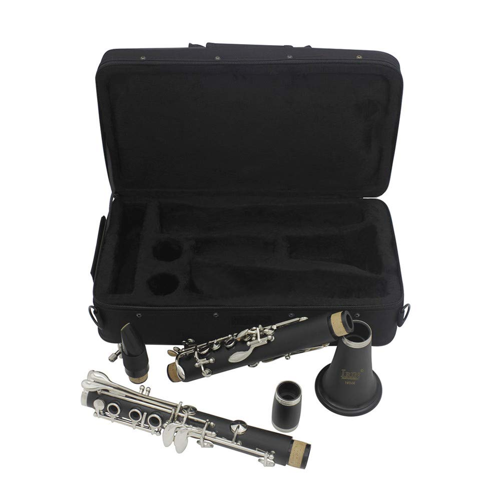 QuTess Clarinet bB Key Bakelite Woodwind Instruments with Reed Clip Screwdriver Square Cloth (random color) Strap