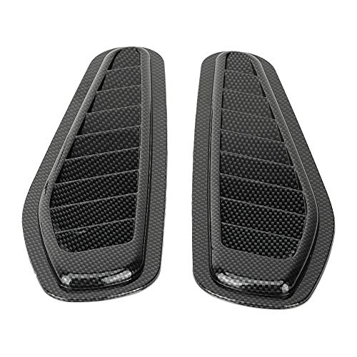 Fydun Car Air Flow Intake Decorative Scoop Bonnet Vent Hood Cover Universal Carbon Fiber Style Auto Car Decorative Hood Scoop 2pcs ()