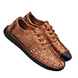 Queixiw Leather Casual Shoes Men Full Handmade Vintage Shoes lace up Natural Rubber