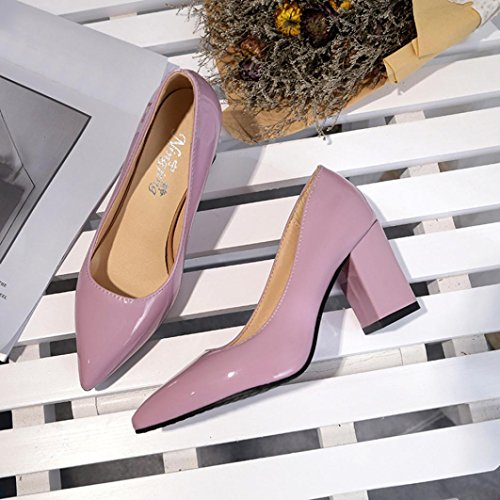 erthome Summer Women Fashion Square Heel Shoes Pointed Toe Shallow High-Heeled Shoes Pink dGcsu