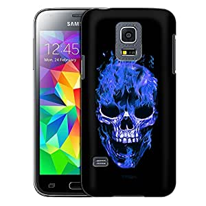 Samsung Galaxy S5 Mini Case, Slim Fit Snap On Cover by Trek Blue Flaming Skull on Black Case