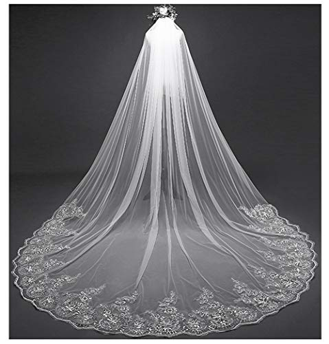 - AIBIYI Vintage Long Veil Sequins Lace (300cm) Cathedral Bridal Veil with Comb ABY-V42