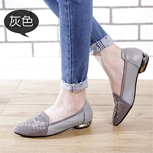 shallow with soft autumn non bottom work shoes and single Grey Spring flat slip shoes FLYRCX mouth leather casual ladies shoes wqzgxtWvXE
