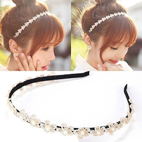 Women's Korean Pearls Clip Hairbands Wedding Fashion Headband Hair Accessories by JASSINS