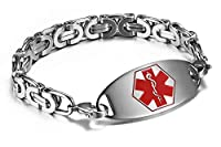 JF.JEWELRY Stainless Steel Medical Alert Id Bracelet for Men with Byzantine Chain Link,Free Engraving