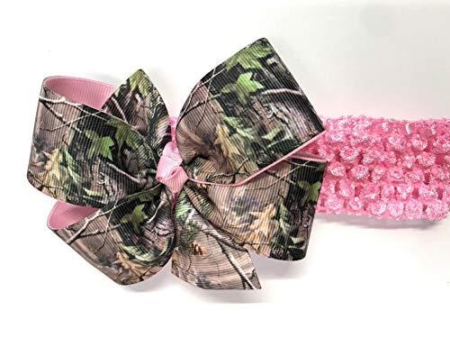 (Baby Girls Camouflage Headband Girls Toddler Brown Green Camo Hair Bow On Pink Headband)