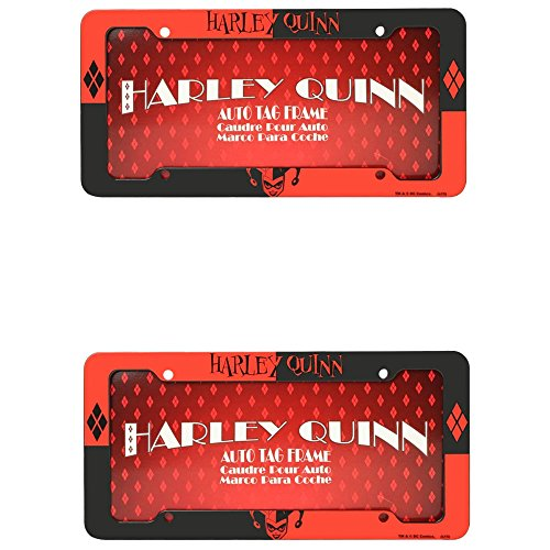 DC+Comics Products : Harley Quinn Face Head with Name and Logo Batman DC Comics Auto Car Truck SUV Vehicle Universal-fit License Plate Frame - Plastic - PAIR