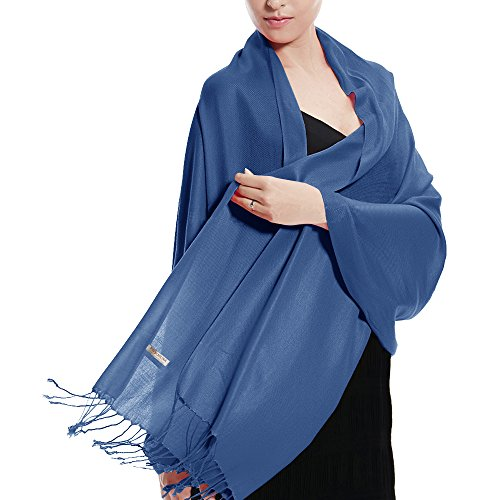 Pashmina Large Soft Plain Shawl/Wrap/Scarf for Women (Denim Blue)