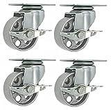 Online Best Service 4 All Steel Swivel Plate Caster wheels w Brake Lock Heavy Duty High-Gauge Steel Gray (3.5'' with Brake)