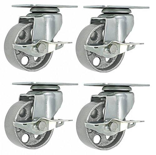Heavy Duty Industrial Wheel (Online Best Service 4 All Steel Swivel Plate Caster Wheels w Brake Lock Heavy Duty High-gauge Steel 1500lb total capacity Gray (3.5