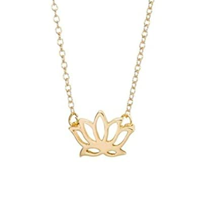 Amazoncom Gold And Silver Lotus Necklace Lotus Flower Necklace