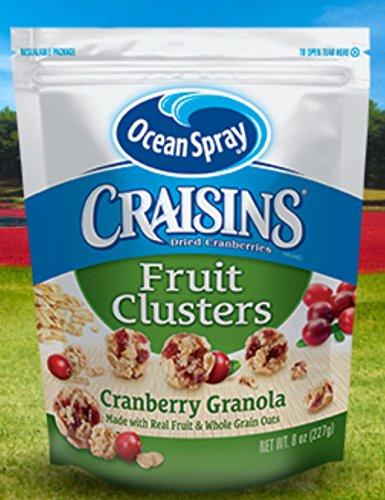 Ocean Spray, Craisins, Fruit Clusters, 8oz Bag (Pack of 3) (Choose Flavors Below) (Dried Cranberries Fruit Clusters Cranberry (Ocean Spray Dried Cranberries)