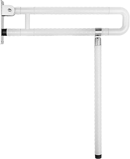 White 60CM Medical Toilet Grab Bar Safety Handicap Bathroom Seat Support Foldable Skid Resistance Toilet Bathroom Bar Bathroom Hand Grips for Disability Aid and Elderly Assistance