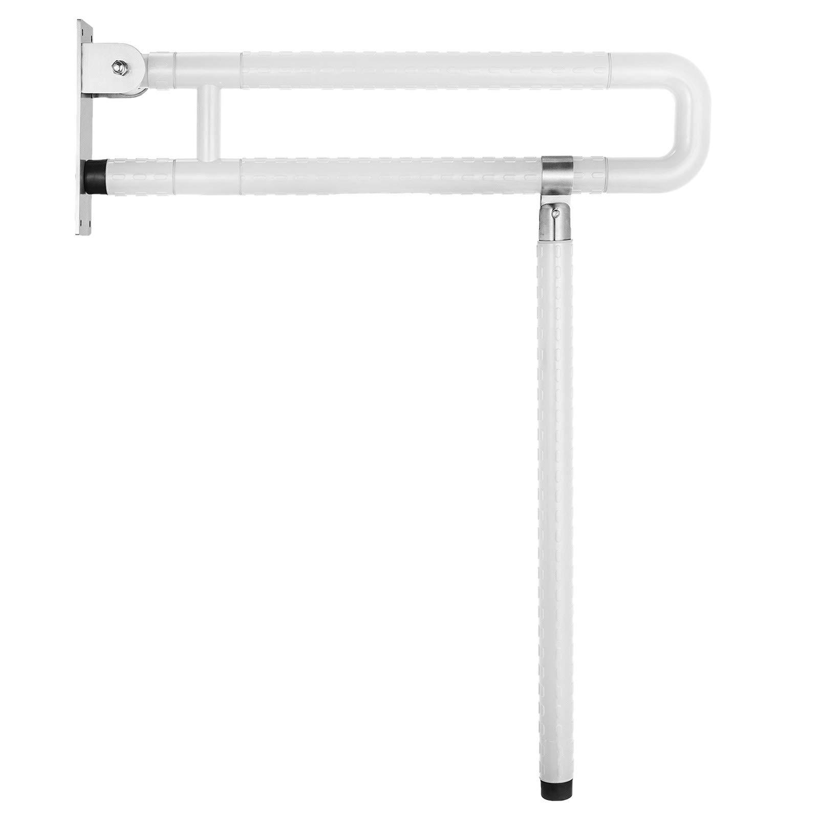VEVOR Foldable Toilet Grab Bar Safety Frame Rails Flip-Up Skid Resistance Handicap Bathroom Seat Support Bar Toilet Hand Grips for Home Hotel Disabled Aid Pregnant Elderly R-Shape Rail (White R) by VEVOR