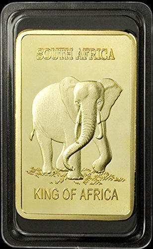 1 Oz .999 Fine Pure Gold Layered Steel Bar South Africa Elephant and Krugerrand 100 Mills Gold Clad Ingot Bar Design - Grace Specialty 017