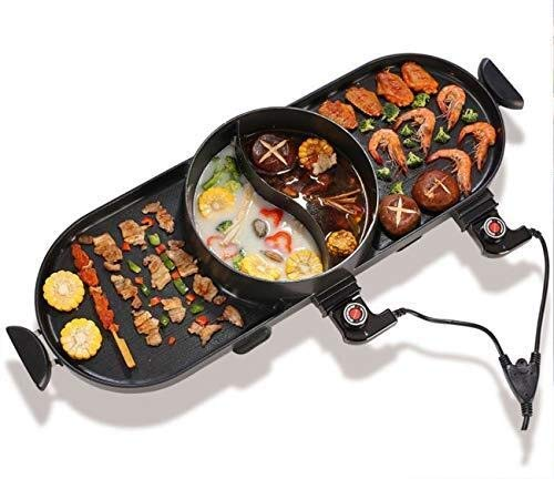 SPLY DTEM Barbecue Electric Barbecue Pot with hot Pot 2-in-1, Indoor/Outdoor 1400 watt Electric Oven/teppanyaki Electric Barbecue Grill/hot Pot, Non-Smoking Electric Barbecue Grill with one hot