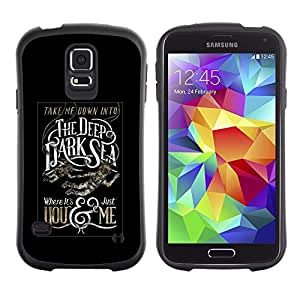 Suave TPU Caso Carcasa de Caucho Funda para Samsung Galaxy S5 SM-G900 / Deep Dark Sea Black Poster Text / STRONG