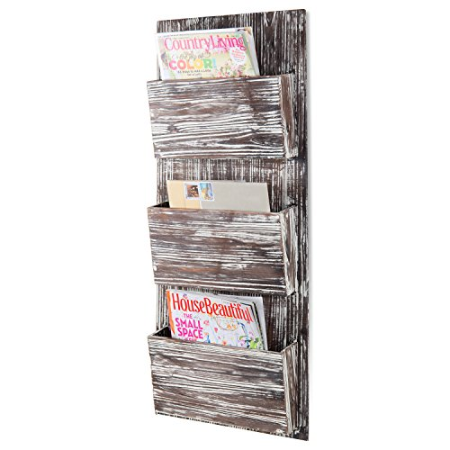 Wood Letter Holder Distressed White - MyGift Rustic Torched Wood 3-Slot Wall-Mounted Magazine Rack