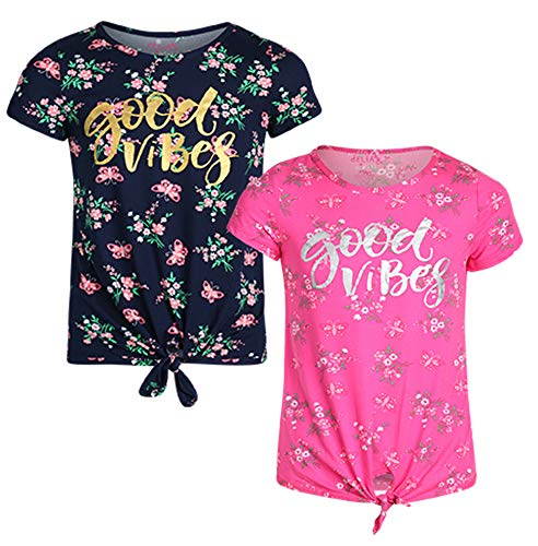 Girls Good Vibes - dELiA*s Girl\'s Fashion Yummy T-Shirt (2 Pack), Good Vibes, Size 7/8'