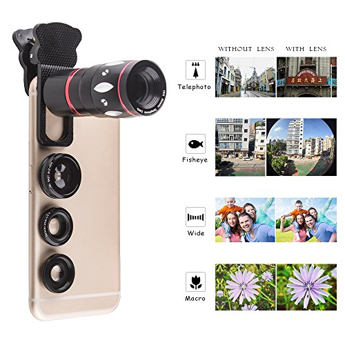 cheap Camera phone lens,4 in 1 Clip on Cellphone Lens Kits 10x Zoom
