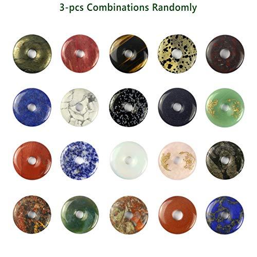 Beautiful Sea Sediment Jasper Donut Pendant Bead 40mm Mix Material(3pcs) (40MM-3pcs) (40 Mm Donut)