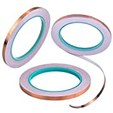 Copper Foil Tape, 3Pcs Double Conductive Adhesive 22 Yards for EMI Shielding, Slug Repellent, Electrical Repairs, Stained Glass, Art Work, Soldering, Grounding, Paper Circuits, Crafts (5mm/ 8mm/ 15mm)
