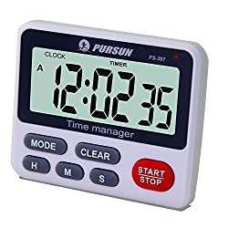 Samshow Digital Kitchen Cooking Timer Clock,Simultaneous Timing Countdown Up Pocket Timer with alarm clock, Large Led Display, Memory, Stopwatch Function, Magnetic Back (Battery included) (One Group)